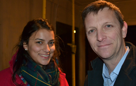 Trustee Santosh Stride with Mark Easton, Home Editor for BBC News    photo credit: LC/BBC